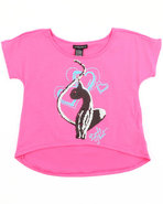 Girls Big Kitty Tee (7-16) Pink 8/10 (M)