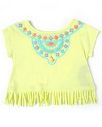 Girls Aztec Fringe Top (2T-4T) Lime Green 3T