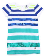 Girls Sequin Stripe Tee (7-16) Blue 10/12 (M)