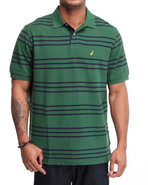 Men Standard Striped Polo Forest Green Medium