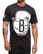Men Brooklyn Nets Snap Back Team Logo Tee Black Sm