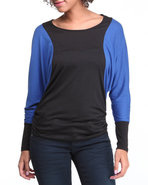 Women Swank Color Block Long Sleeve Top Blue Small