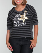 Women Stripe Pullover (Plus) Black 2X
