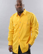 Men Military Woven Shirt Yellow X-Large