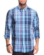 Men Plaid L/S Button Down Shirt Blue Large