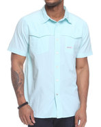 Men Shift Short Sleeve Woven Blue Medium