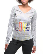 Women Longsleeve V-Neck Tee Grey Large
