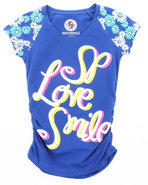 Girls Smile Tee W/ Headband (7-16) Blue 7/8 (S)