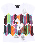 Girls Geometric Kitty Tee (4-6X) White 6X