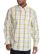 Men Poplin Medium Plaid Button Down Shirt White Me