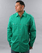 Men Military Woven Shirt Green Large