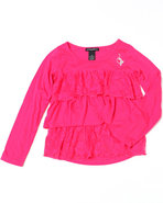 Girls Tiered Ruffle Top (7-16) Pink 12/14 (L)