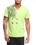 Men S/S V-Neck Shoulder Graphic Tee Lime Green Med
