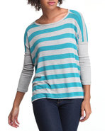 Women Scoop Neck Top W/ Skinny Sleeve Teal Medium
