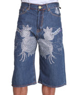 Men Skull/Roses Front-Stoned Denim Shorts Medium W