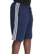Men 3 Striped Fleece Sweat Shorts Navy Small