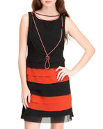 Women Ruffle Dress Orange Medium