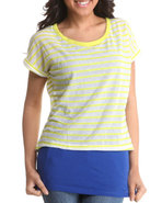 Women 2-Fer Top W/Stripes Blue Medium