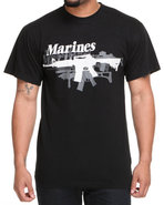 Drj Army/Navy Shop Men Vintage Black Marines Gun T