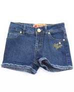 Girls Embroidered Pocket Denim Shorts (7-16) Dark