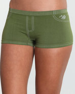Women Stones Denim Look Seamless Short Green Mediu