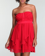 Xoxo Women Ruched Bust Ruffled Chiffon Dress Red 0
