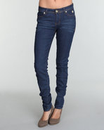 Women Angled Logo Square Pocket Skinny Jean Dark W