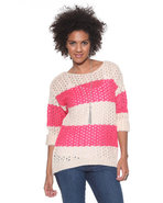 Djp Basics Women's Open Stitch Striped Sweater Pin