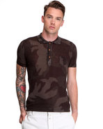 Men Fine Gauge Cotton Camo S/S Polo Camo Large