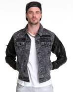 Men Barnett Bleached Denim Jacket W/ Contrast Slee