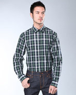 Djp Basics Men Premium Plaid L/S Button-Down Green