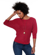 Djp Basics Women's Open Neck Lurex Sweater Red X-L