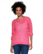Djp Basics Women's Marbeled Open Stitch Sweater Pi