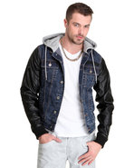 Men Shump Denim Jacket W/ Hoodie And Jersey Trim W