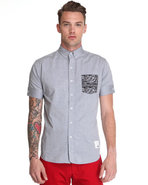 Men S/S Buttondown W/Bandana Pckt Grey Medium
