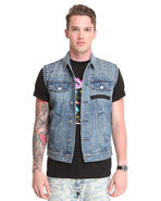 Men Edgy Spike Detail Sleeveless Denim Vest Medium