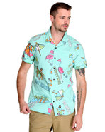 Men Casual Friday Aloha Shirt Green Medium