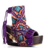 Women's Purple  Woodstock  Wedge W/ Heart Detail M