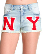 Women's Ny Varsity Letter Cut Off Denim Short Indi