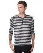 Djp Basics Men Stripe Henley Black Small