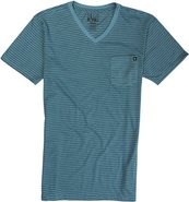 PIN V-NECK SS TEE Medium Heather Blue