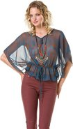 TRIBAL PRINT BLOUSE Medium Slate Gray