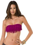 KNOTTED FRINGE DOLLY BANDEAU TOP X-Small
