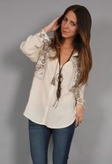Boho Embroidered Peasant Detail Top in Parchment