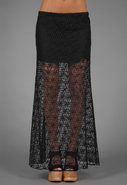 Long Fitted Skirt in Black Diamond Lace