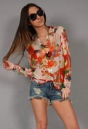 Banquet Long Sleeve Blouse in Hawaii