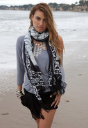 Thedora &amp; Callum Bali Fringe Scarf in Black Multi