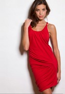 Steffe Twisted Draped Dress in Red