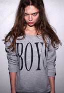 Boys Loose Fit Boyfriend Sweatshirt in Grey Heathe