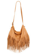 Stroll Jumbo Fringe Bag in Sand